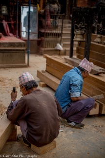 Carving new beams for the temple.